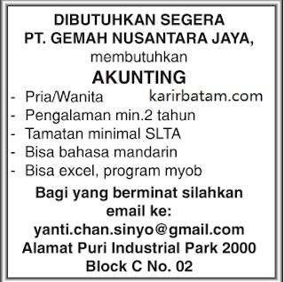 Lowongan Kerja PT. Gemah Nusantara Jaya