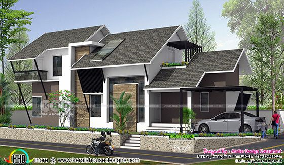 ₹25 lakh cost estimated modern sloping roof home