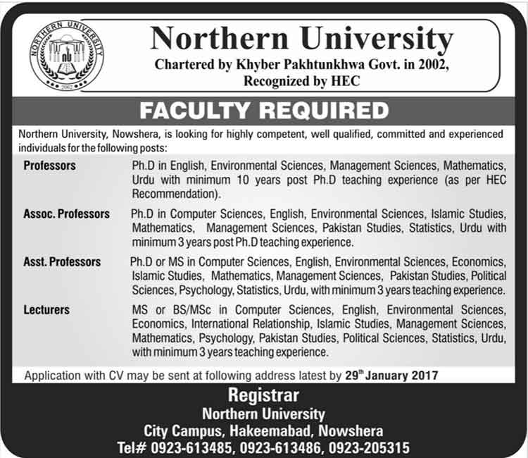 Teaching Faculty Northern University Nowshera Jobs