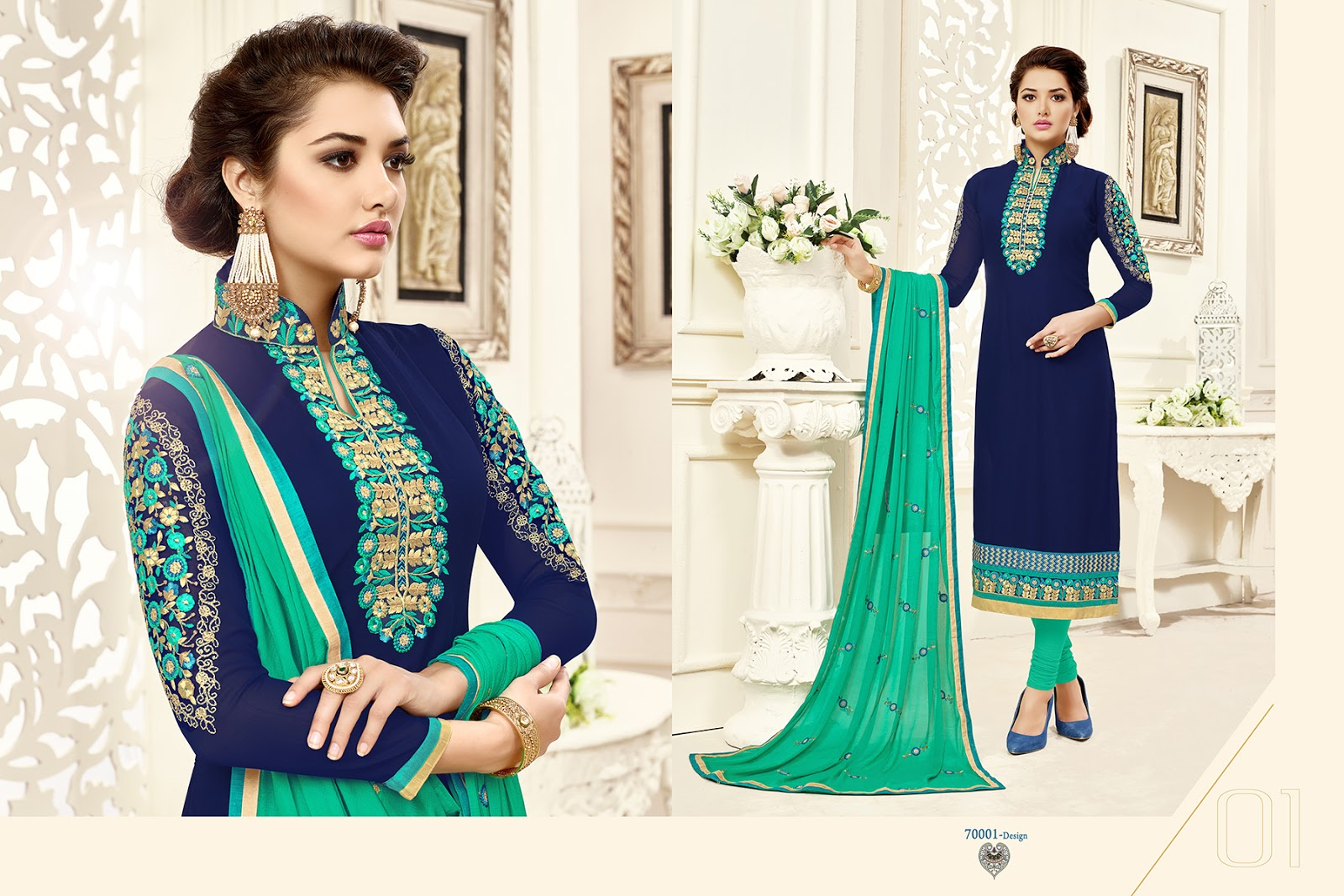 Kavya 70 Digital – Latest New Designer Embroidery Dress Material