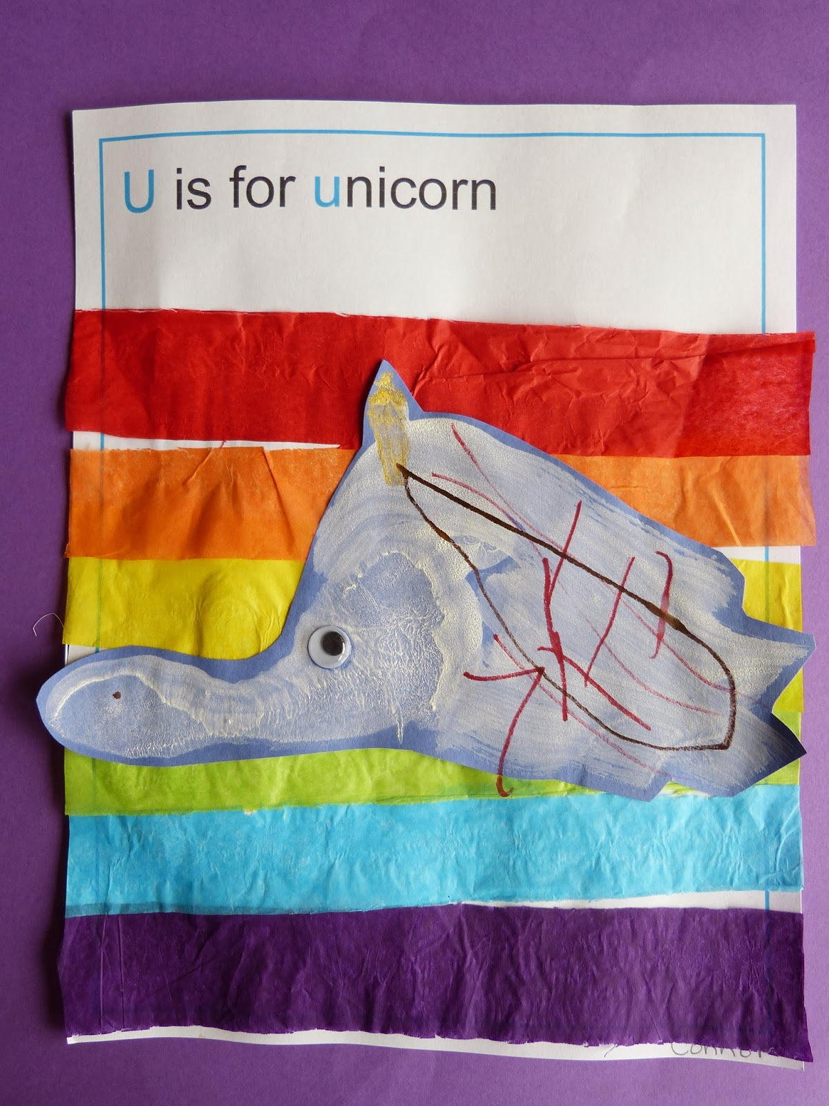 Unicorn stick horses, sensory bins, books and foot prints - fun learning ideas for the letter U!