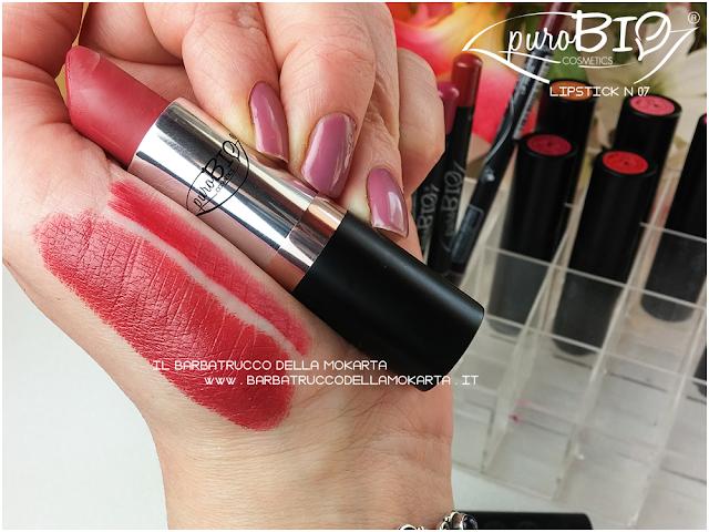 swatches , matita n 40, lipstick n 07 ,  rossetti purobio , lipstick, vegan makeup, bio makeup