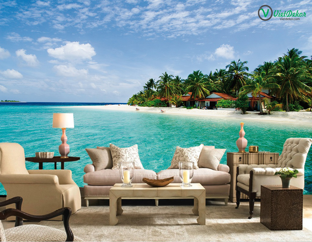 Tranh dán tường 3d phong cảnh bãi biển