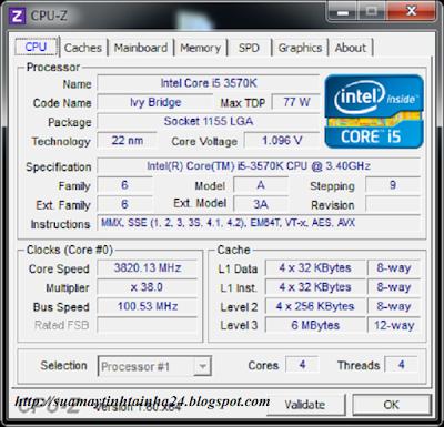 xem cấu hình PC với CPU Z