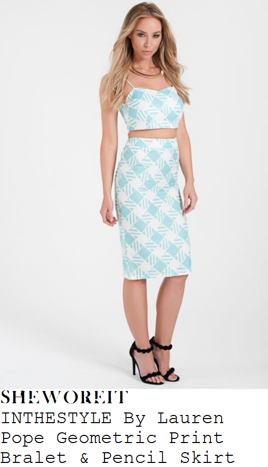 lauren-pope-mint-white-geometric-bralet-pencil-skirt-co-ords