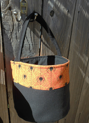 canvas trick or treat bag with spiders