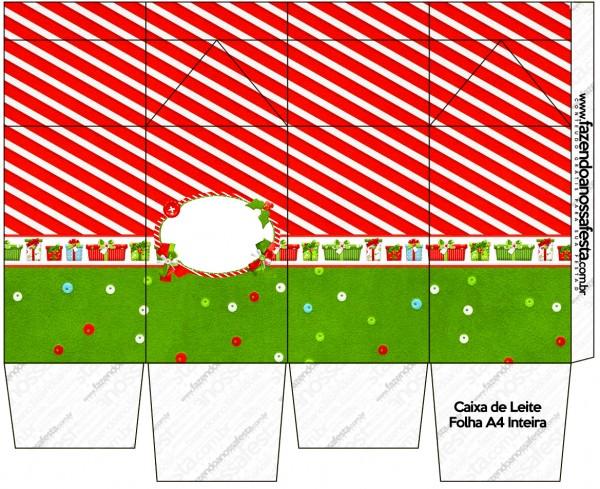 "Caja tipo ""de leche"" de Navidad a Rayas."