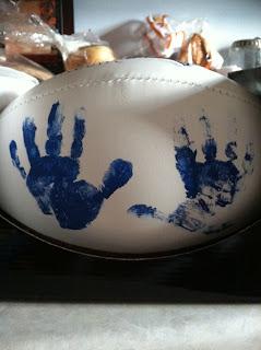 football handprints