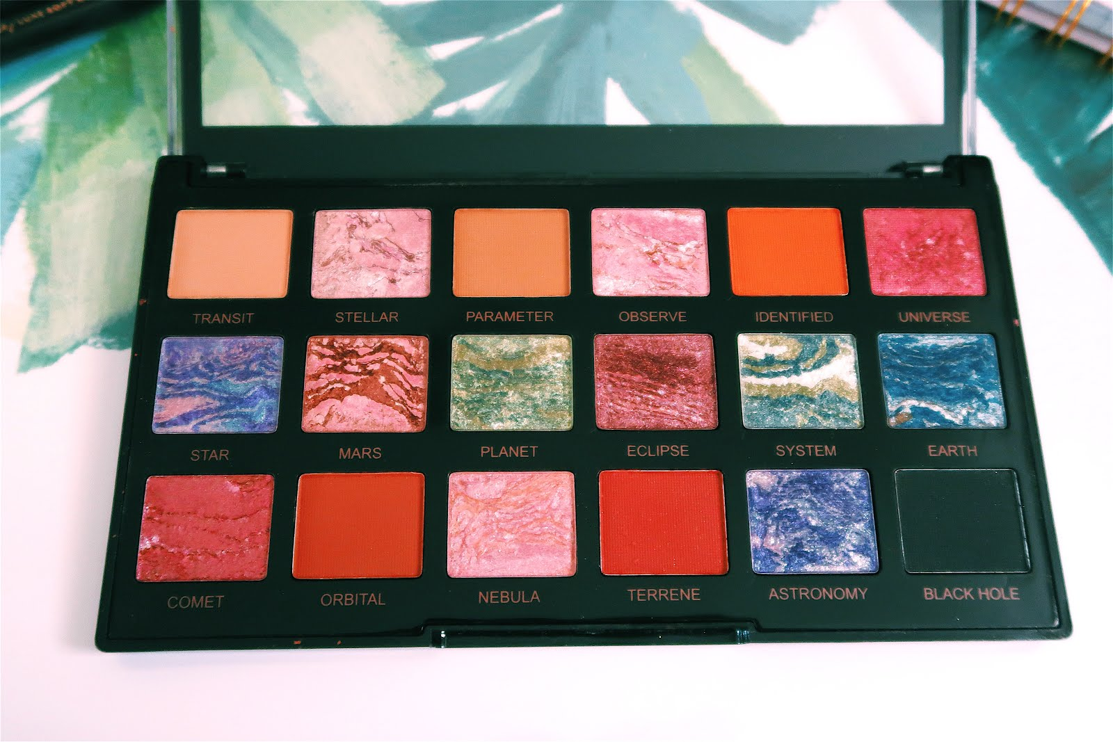 Close up of Trends Celestial eyeshadow palette by Revolution Makeup