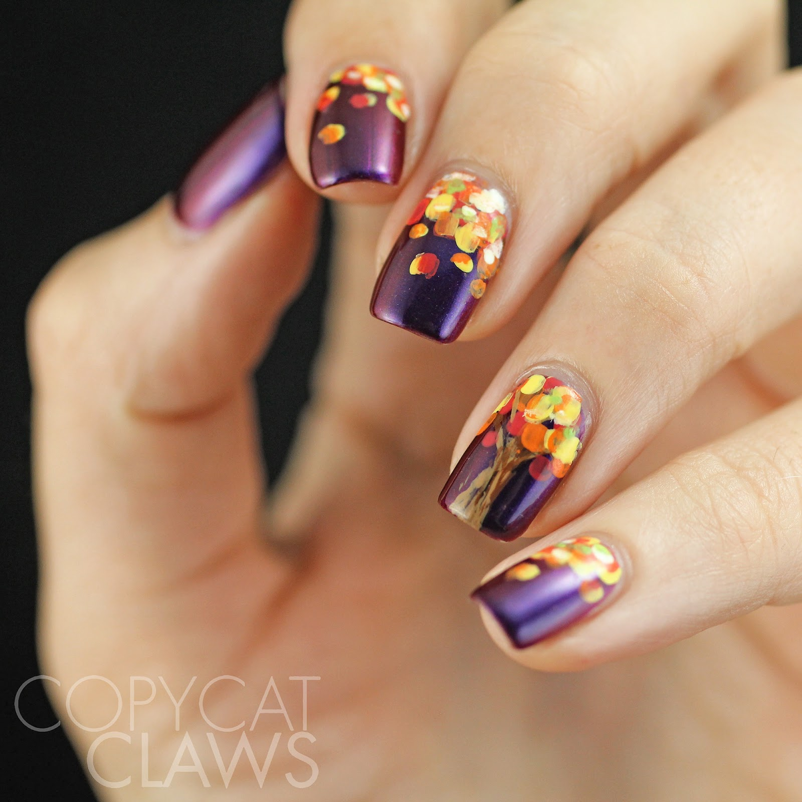 Copycat Claws: HPB Presents Fall Tree Nail Art