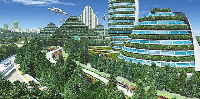 リアルイラスト、3DCG、俯瞰、スマートシティ、近未来都市、SF、植物都市