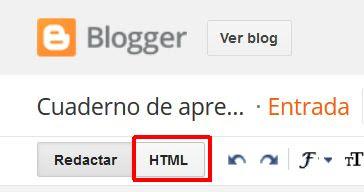 Añadir HTML a una entrada en Blogger