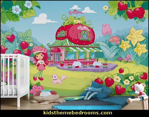 Strawberry Shortcake mural  baby girl garden nursery theme decorating ideas - flower garden theme baby bedrooms - butterfly bedroom decor - butterfly bedroom theme - butterfly wall murals - tree wall murals - baby girl garden themed nursery