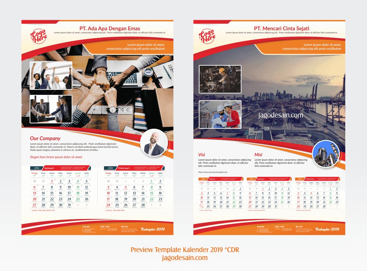 Template Kalender 2019 CorelDraw Beneran Gratis dan ...