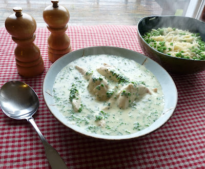 Poached Chicken Breasts with Fines Herbes Sauce