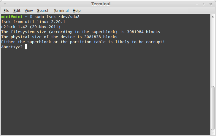 Linux how to use fsck