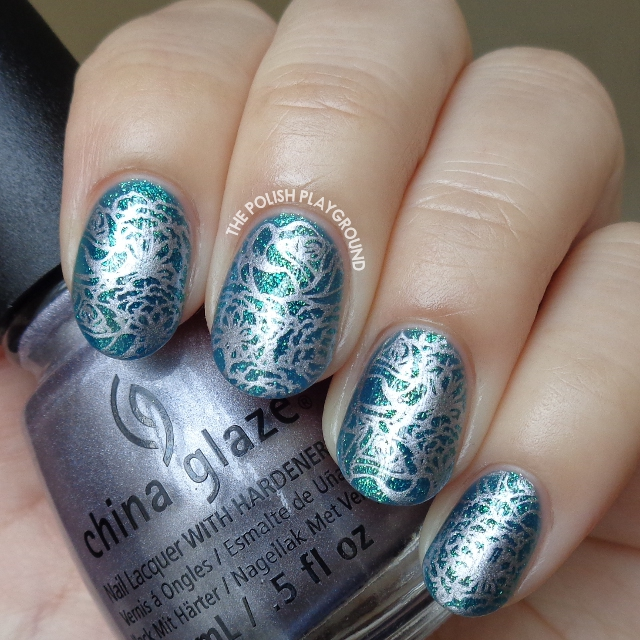 Blue Green Glass Fleck with Silver Floral Stamping Nail Art