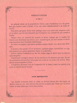Deuxième de couverture d'un cahier de devoirs mensuels, 1894 (collection musée)
