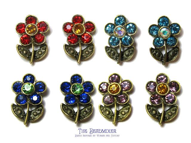 Strass oorstekers met bloemetjes