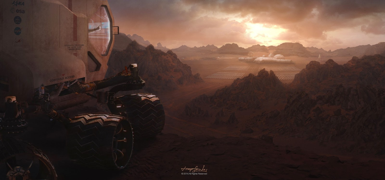 Rover approaching Mars base by Tiago Santos