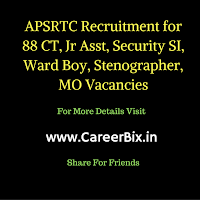 APSRTC Recruitment for 88 CT, Jr Asst, Security SI, Ward Boy, Stenographer, MO Vacancies