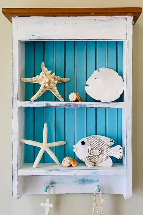 Wall Shelf Makeover Idea Paint Bright Blue Beach Decor