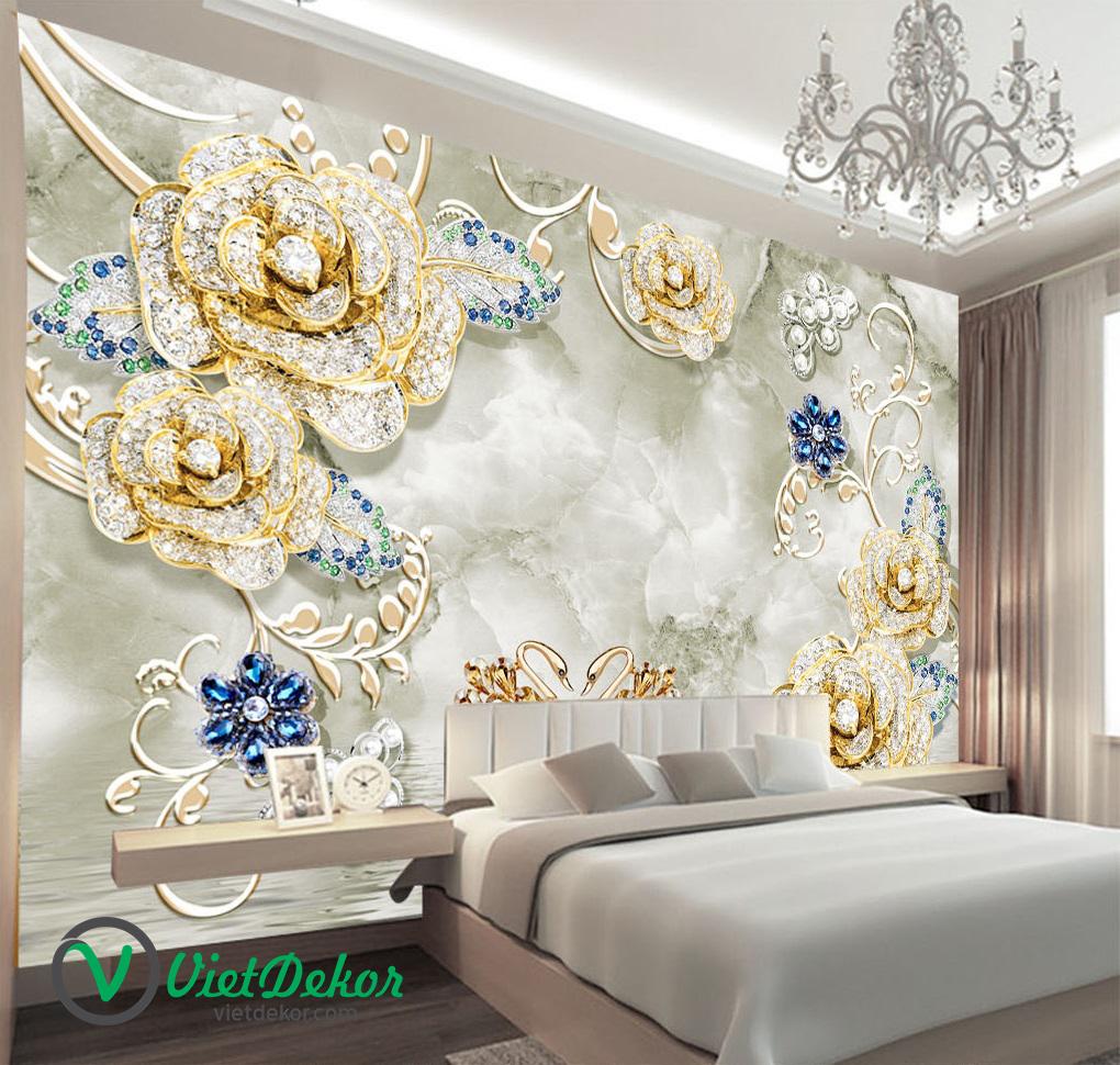 Tranh 3d dán tường hoa mẫu đơn ngọc trai