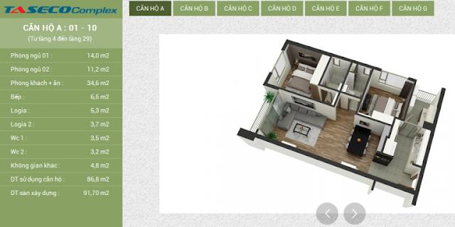 Thiết kế căn hộ A Taseco Complex