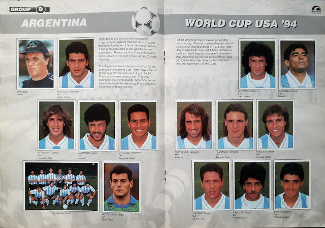 WORLD CUP USA '94 STICKER ALBUM COLLECTION GROUP D ARGENTINA