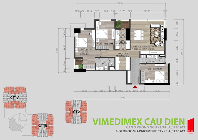 Mặt bằng căn hộ 3 ngủ 130m2 Iris Garden
