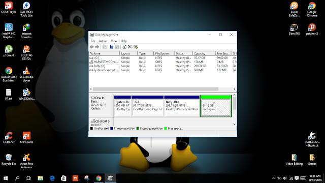 Membagi Partisi Hardisk Untuk Membuat Dual Boot Windows dan Linux