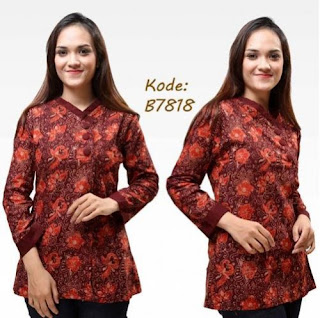 Desain Model Baju Batik Kantor Wanita