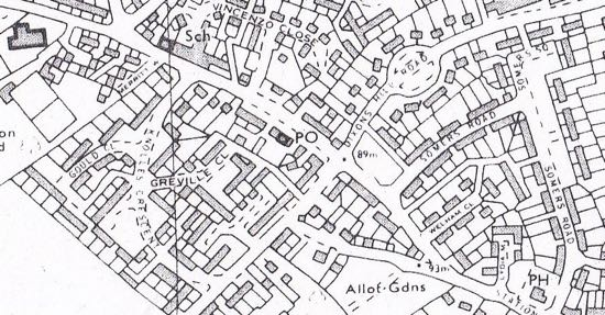 Scan of map of Dellsome Lane with the post office (PO) towards the middle of the image