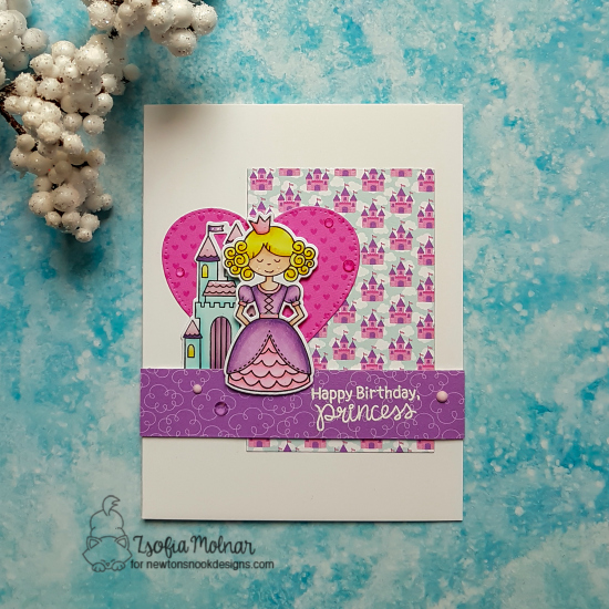 Princess Birthday Card by Zsofia Molnar | Once Upon a Princess Stamp Set by Newton's Nook Designs #newtonsnook #handmade