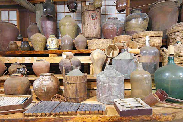 jars, buckets, bottles, shelves, baskets, pottery