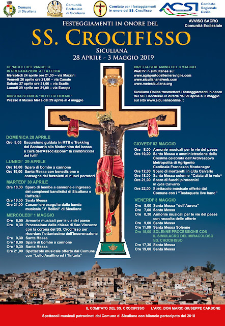 Festeggiamenti in onore del SS. Crocifisso - Il programma per il 2019