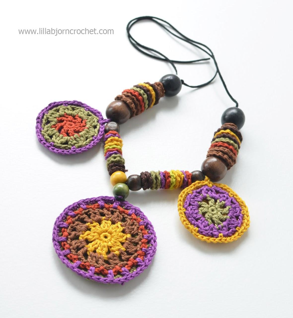 Crochet mandala necklace - by Lilla Bjorn Crochet
