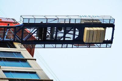 Construction crane counterweight from below