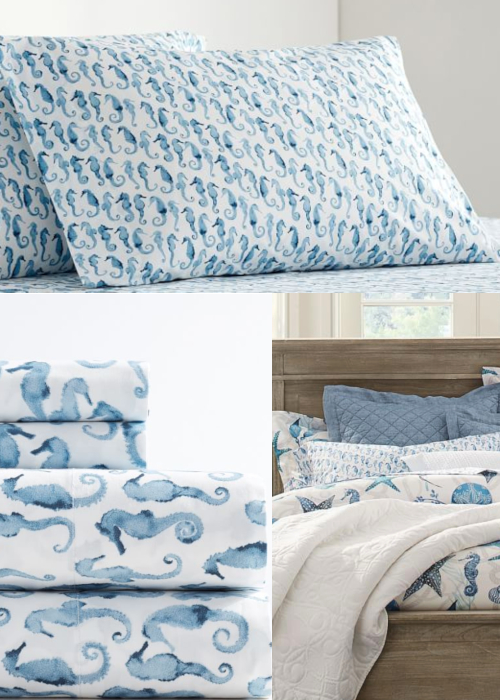 Blue Coastal Seahorse Sheet Set & Pillowcases