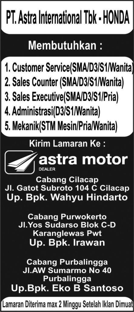 Lowongan Kerja Astra Motor Cilacap Purwokerto Purbalingga