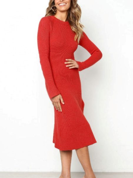 Round Neck Plain Long Sleeve Maxi Dresses – Price: $18.00