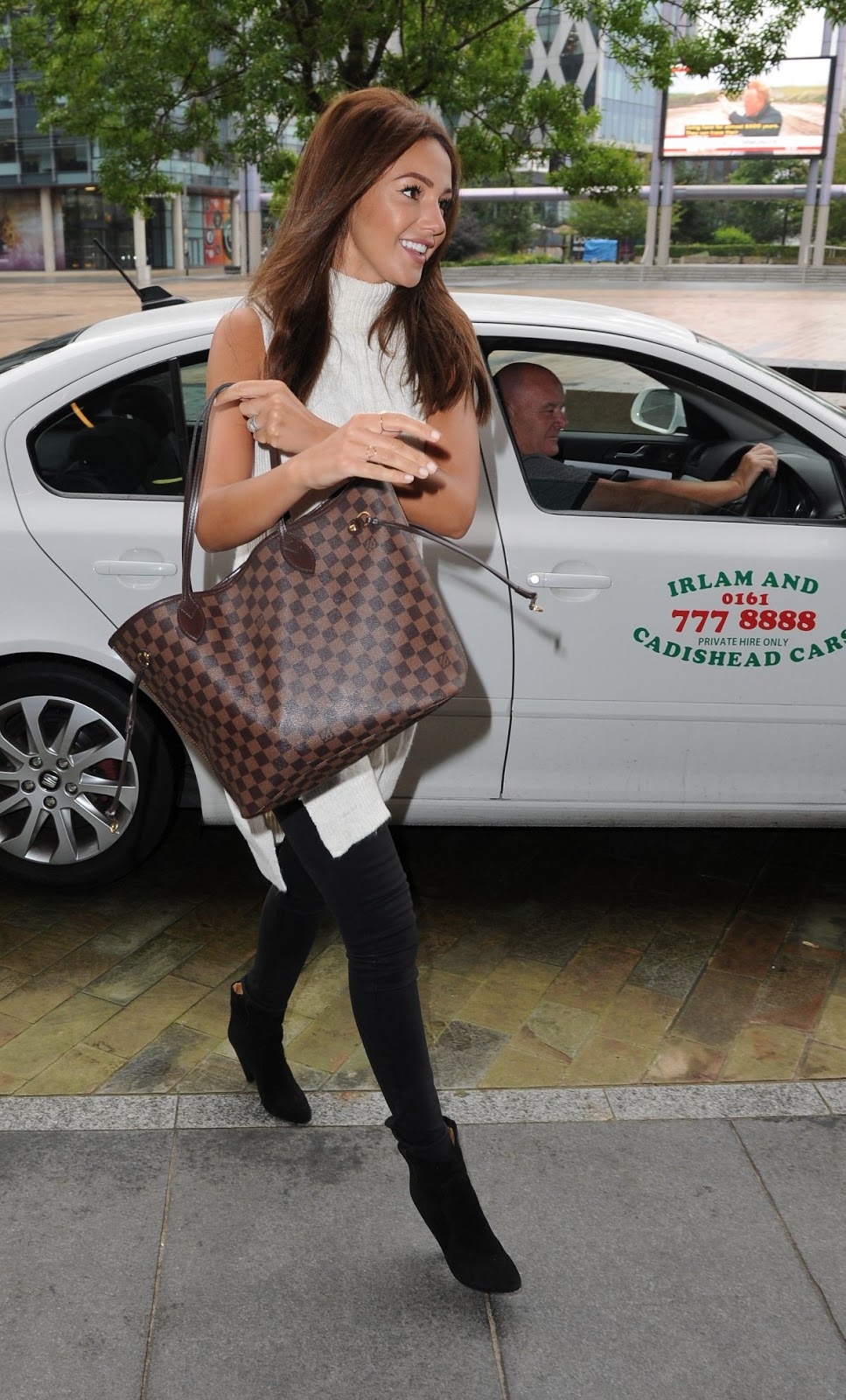 Photos of Michelle Keegan in White & Black dress At BBC Breakfast Studios In Manchester