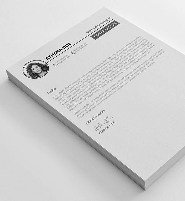 Free Resume CV Template with Portfolio and Cover Letter