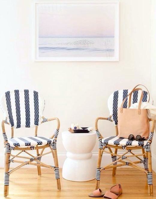Modern Nautical Style Navy Stripe Chairs