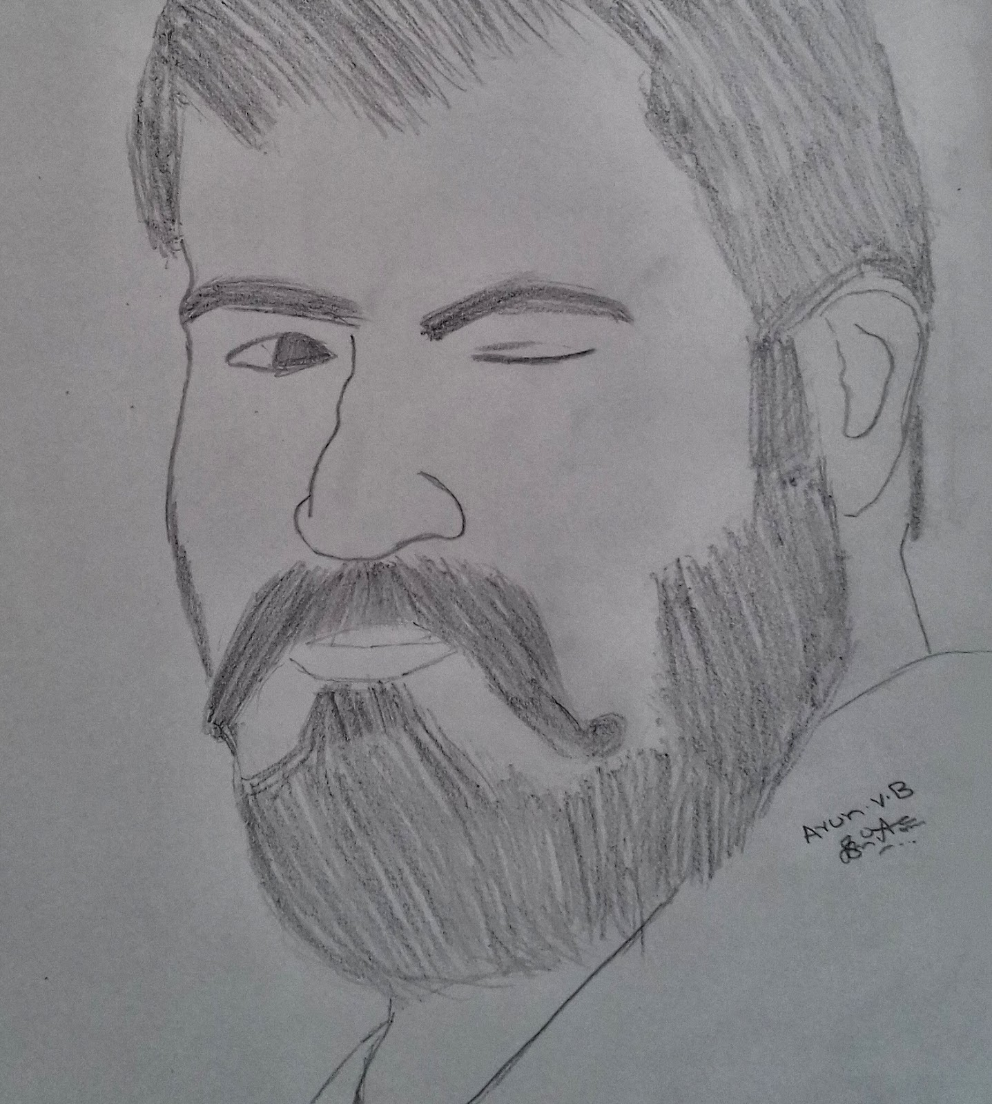 Simple pencil drawing by arun vb inspiration actor mohanlal in kayamkulam kochunni