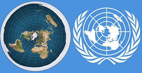 Teoria da Terra plana ganha força na internet - Terra plana e o logo da ONU