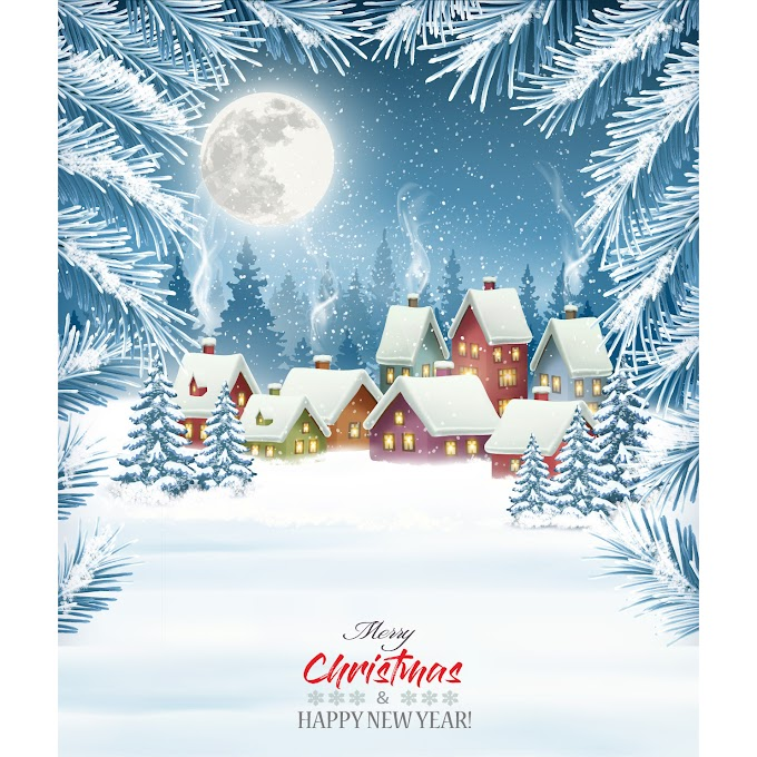 merry christmas background with winter village free vector