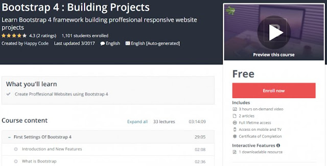 [100% Free] Bootstrap 4 : Building Projects
