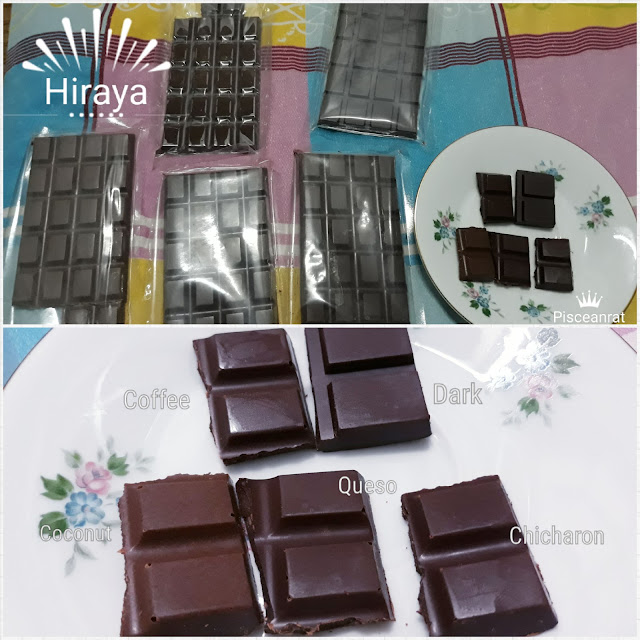 Hiraya X Kalsada 72% Dark Chocolate with Coffee Nibs Single Origin  - With notes of dried cranberries, raisins and sweet red wine. Inspired by Benguet coffee producers and Davao cacao farmers.  2. 72% Single-Origin Dark Chocolate Bar - Fruity with just a slight hint of bitterness.  3. 100% Pure Chocolate Bar - For drinks and desserts. Can be mixed with milk or cream or as substitute for cocoa powder.  4. Hiraya Queso de Bola - Queso de Bola is a staple in Christmas celebrations. An interesting combo of rich dark chocolate paired with salty and sharp Edam cheese.  5. Hiraya Chicharon - The first of its kind. Spicy dark chocolate paired with salty and crunchy bits of pork rind.  6. Hiraya Coconut - All parts of the Coconut tree can be used for a purpose hence it is called Tree of Life. This creamy, decadent chocolate bar has coconut milk and roasted coconut meat.