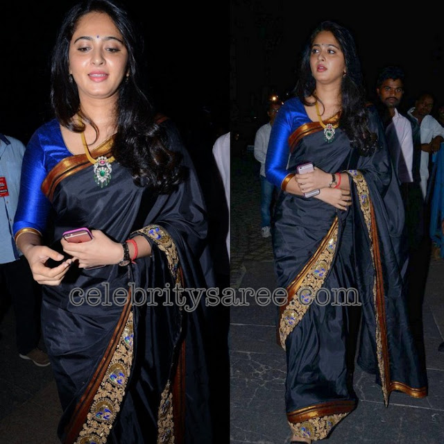 Anushka-Shetty-black-sarees